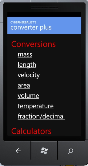 The main menu of the Converter Plus app