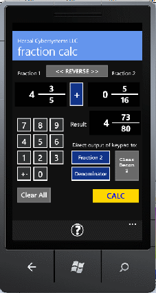 Image of the Fraction Calculator app.